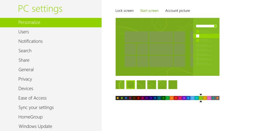 Windows 8 Start Screen Customisation
